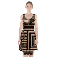 Wooden Pause Play Paws Abstract Oparton Line Roulette Spin Racerback Midi Dress