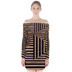 Wooden Pause Play Paws Abstract Oparton Line Roulette Spin Long Sleeve Off Shoulder Dress