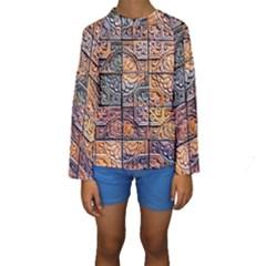 Wooden Blocks Detail Kids  Long Sleeve Swimwear
