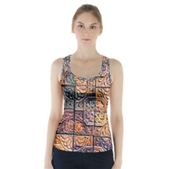 Wooden Blocks Detail Racer Back Sports Top