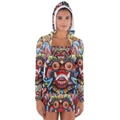 Wood Sculpture Bali Logo Women s Long Sleeve Hooded T-shirt