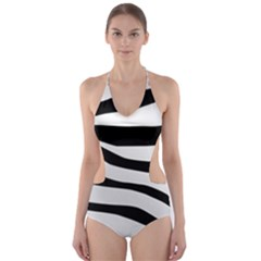 White Tiger Skin Cut-Out One Piece Swimsuit