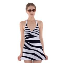 White Tiger Skin Halter Swimsuit Dress