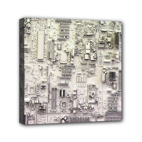 White Technology Circuit Board Electronic Computer Mini Canvas 6  x 6