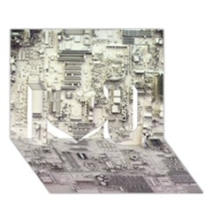 White Technology Circuit Board Electronic Computer I Love You 3D Greeting Card (7x5)
