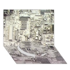 White Technology Circuit Board Electronic Computer Circle Bottom 3D Greeting Card (7x5)