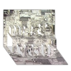 White Technology Circuit Board Electronic Computer Miss You 3D Greeting Card (7x5)