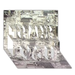 White Technology Circuit Board Electronic Computer THANK YOU 3D Greeting Card (7x5)
