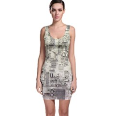 White Technology Circuit Board Electronic Computer Sleeveless Bodycon Dress