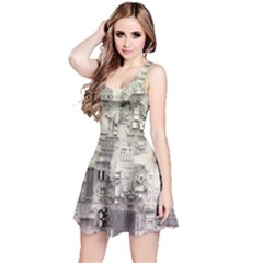 White Technology Circuit Board Electronic Computer Reversible Sleeveless Dress