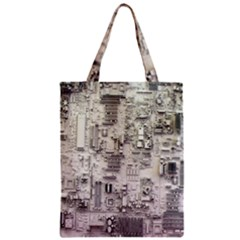 White Technology Circuit Board Electronic Computer Zipper Classic Tote Bag