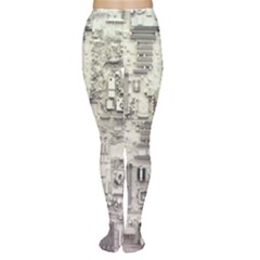 White Technology Circuit Board Electronic Computer Women s Tights