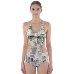 White Technology Circuit Board Electronic Computer Cut-Out One Piece Swimsuit