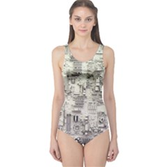 White Technology Circuit Board Electronic Computer One Piece Swimsuit