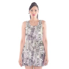 White Technology Circuit Board Electronic Computer Scoop Neck Skater Dress