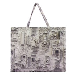White Technology Circuit Board Electronic Computer Zipper Large Tote Bag
