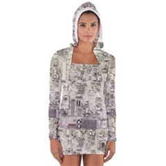 White Technology Circuit Board Electronic Computer Women s Long Sleeve Hooded T-shirt