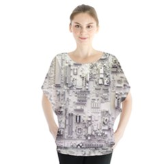 White Technology Circuit Board Electronic Computer Blouse