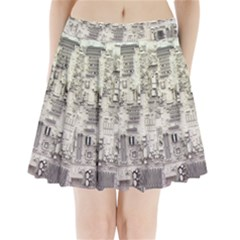 White Technology Circuit Board Electronic Computer Pleated Mini Skirt