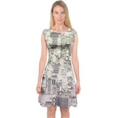 White Technology Circuit Board Electronic Computer Capsleeve Midi Dress