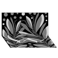Gray plant design Twin Heart Bottom 3D Greeting Card (8x4)