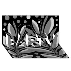 Gray plant design PARTY 3D Greeting Card (8x4)