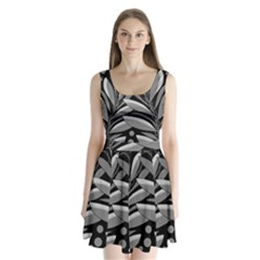 Gray plant design Split Back Mini Dress
