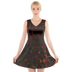 Volcanic Textures V-Neck Sleeveless Skater Dress