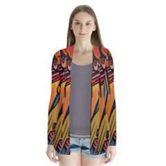 Vivid Colours Drape Collar Cardigan