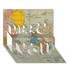 Vintage World Map Miss You 3D Greeting Card (7x5)