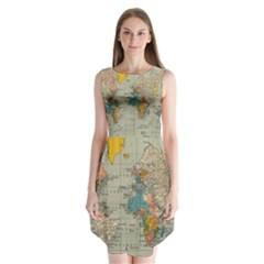 Vintage World Map Sleeveless Chiffon Dress