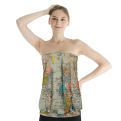 Vintage World Map Strapless Top
