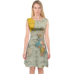 Vintage World Map Capsleeve Midi Dress