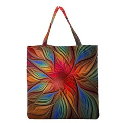 Vintage Colors Flower Petals Spiral Abstract Grocery Tote Bag