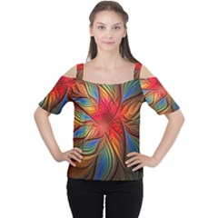 Vintage Colors Flower Petals Spiral Abstract Women s Cutout Shoulder Tee