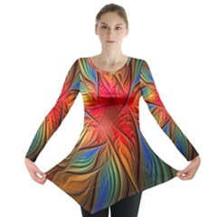 Vintage Colors Flower Petals Spiral Abstract Long Sleeve Tunic