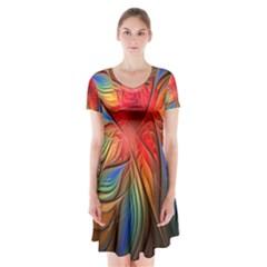 Vintage Colors Flower Petals Spiral Abstract Short Sleeve V-neck Flare Dress