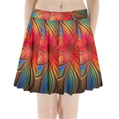 Vintage Colors Flower Petals Spiral Abstract Pleated Mini Skirt