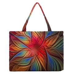 Vintage Colors Flower Petals Spiral Abstract Medium Zipper Tote Bag
