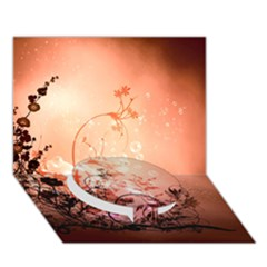 Wonderful Flowers In Soft Colors With Bubbles Circle Bottom 3d Greeting Card (7x5)