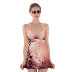 Wonderful Flowers In Soft Colors With Bubbles Halter Swimsuit Dress