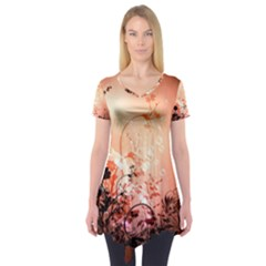 Wonderful Flowers In Soft Colors With Bubbles Short Sleeve Tunic