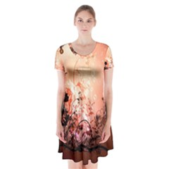 Wonderful Flowers In Soft Colors With Bubbles Short Sleeve V-neck Flare Dress