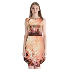 Wonderful Flowers In Soft Colors With Bubbles Sleeveless Chiffon Dress