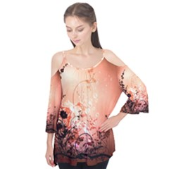 Wonderful Flowers In Soft Colors With Bubbles Flutter Tees