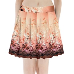 Wonderful Flowers In Soft Colors With Bubbles Pleated Mini Skirt