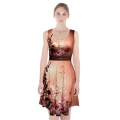 Wonderful Flowers In Soft Colors With Bubbles Racerback Midi Dress