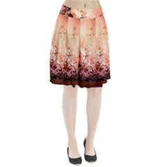 Wonderful Flowers In Soft Colors With Bubbles Pleated Skirt