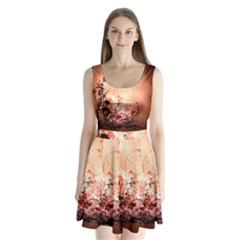 Wonderful Flowers In Soft Colors With Bubbles Split Back Mini Dress