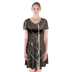 Vein Skeleton Of Leaf Short Sleeve V-neck Flare Dress